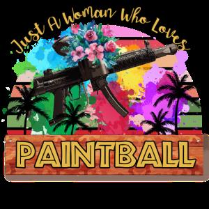 Nur eine Frau, die Paintball liebt