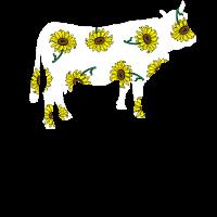 Kuh Rind Rindtier Sonnenblumen Muster