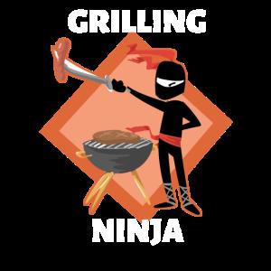 Grillen Grill Ninja Shirt BBQ Runder Grill Wurst