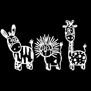 Lustiges Tier Trio I Zebra Löwe Und Giraffe Comic