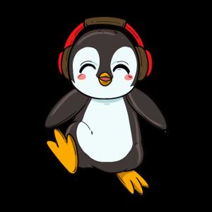 Süßer tanzender Pinguin mit Kopfhörern