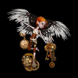 Nettes steampunk Mädchen mit Flügeln