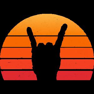 Rock Hand SONNE Retro Vintage Musik Geschenk