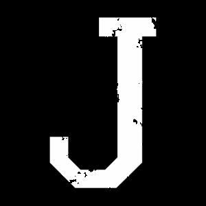 Buchstabe J (Used Look) zweifarbig Schwarz/Weiß