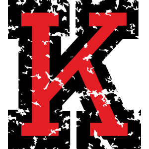 Buchstabe K (Used Look) zweifarbig Schwarz/Rot