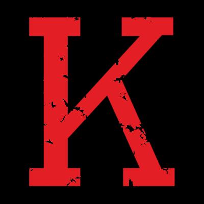Buchstabe K (Used Look) zweifarbig Schwarz/Rot - Der Buchstabe K aus dem stylischen Original Distressed Alphabet von WinnerShirts. Für Namen, Worte, Sätze, Sportler, Sportvereine, Vereine, Klubs, Teams oder Trikots. Zweifarbig schwarz/rot. - Verein,Trikot,Team,Namen,Name,Initialen,Buchstaben,Buchstabe K,Anfangsbuchstabe Anfangsbuchstaben,Alphabet