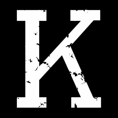 Buchstabe K (Used Look) zweifarbig Schwarz/Weiß - Der Buchstabe K aus dem stylischen Original Distressed Alphabet von WinnerShirts. Für Namen, Worte, Sätze, Sportler, Sportvereine, Vereine, Klubs, Teams oder Trikots. Zweifarbig schwarz/weiß. - Verein,Trikot,Team,Namen,Name,Initialen,Buchstaben,Buchstabe K,Anfangsbuchstabe Anfangsbuchstaben,Alphabet