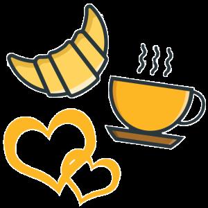 Frühstück Kaffee und Croissant