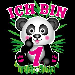 04 Baby Panda Ich bin 1 eins Pink Bambus