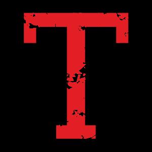 Buchstabe T (Used Look) zweifarbig Schwarz/Rot