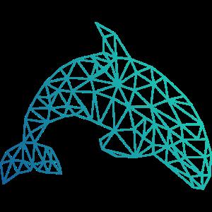 ORCA geometrisch Wal Fisch abstrakt Geschenk