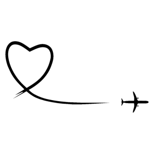 Herzschleife Flugzeug schwarz