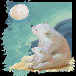 Eisbär schaut auf Mond - Geschenk