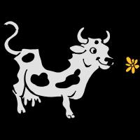Kuh mit Blume