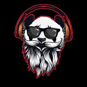 Hipter Panda mit Kopfhörer Sonnenbrille Geschenk