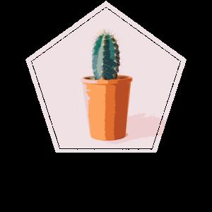 Kaktus im Topf Retro Grunge