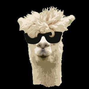 Alpaka Lama Tier Tiere Alpaca Sonnenbrille cool