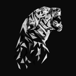 Cooles Tiger Low Poly Schwarz-weiß Poster