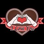 "fingeralphabet heart-brown ""I love you"""
