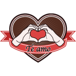 "fingeralphabet heart-brown ""Te amo"""
