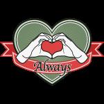 """fingeralphabet heart-green """"Always"""""""