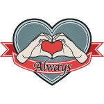"fingeralphabet heart-blue ""Always"""
