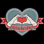 """fingeralphabet heart-blue """"Ich liebe Dich"""""""