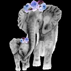Mutter und Tochter Elefant