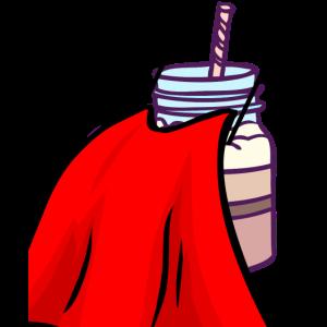 Milchkaffe Superheld mit Cape Latte Macchiato