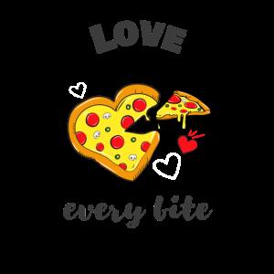 Pizza Love every bite FastFood Käse Pizzen Herz