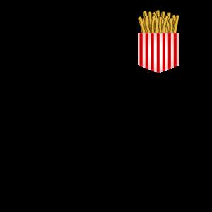 Pommes Fritten in Brusttasche Taschenstyle Fries