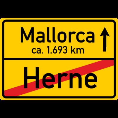 Ortsschild Herne - Mallorca 1693 km - Die Entfernung zwischen Herne und Mallorca (Palma) beträgt auf dem Landweg so ungefähr 1693 km. Auf den ein- oder anderen Kilometer kommt es aber dabei wohl nicht an... - urlaub,tour,reise,ortsschild,mallorca,malle,herner,herne,fahrt ruhrgebiet,fahrt,entfernung