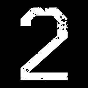 Die Zahl Zwei - Nummer 2 (zweifarbig) weiß
