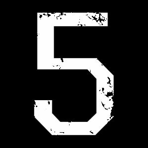 Die Zahl Fünf - Nummer 5 (zweifarbig) weiß