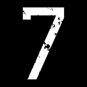 Die Zahl Sieben - Nummer 7 (zweifarbig) weiß