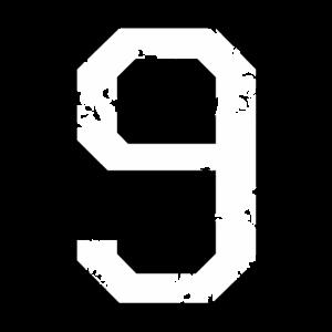 Die Zahl Neun - Nummer 9 (zweifarbig) weiß