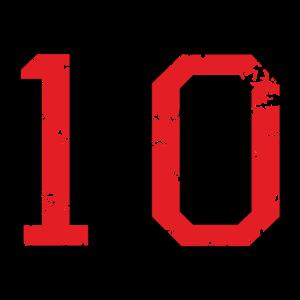 Die Zahl Zehn - Nummer 10 (zweifarbig) rot