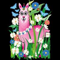 20 Blumen Rosa Lama als Einhorn Marienkäfer