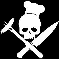 Totenkopf mit Grillbesteck und Wurst