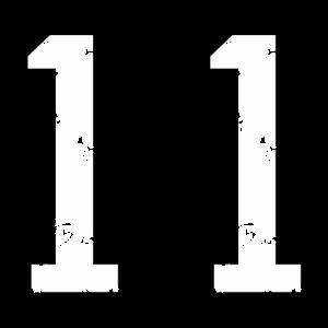 Die Zahl Elf - Nummer 11 (zweifarbig) weiß