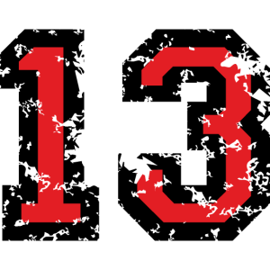 Die Zahl Dreizehn - Nummer 13 (zweifarbig) rot