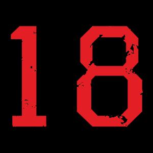 Die Zahl Achtzehn - Nummer 18 (zweifarbig) rot