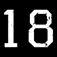 Die Zahl Achtzehn - Nummer 18 (zweifarbig) weiß