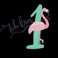 1. Geburtstag, erster, eins, Birthday, Flamingo