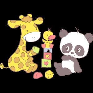 Giraffe and Panda playing with Blocks
