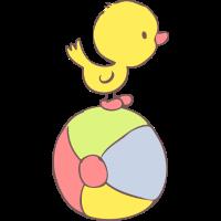 Duckling on beach ball