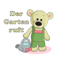 Der Garten ruft! Teddy mit Gießkanne