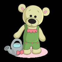 Teddy mit Giesskanne