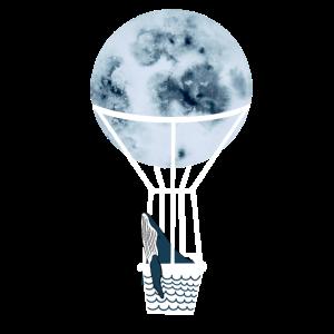 Mond Ballon mit Wal Passagier