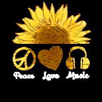 Peace Love Music Hippie Sunflower T Shirt